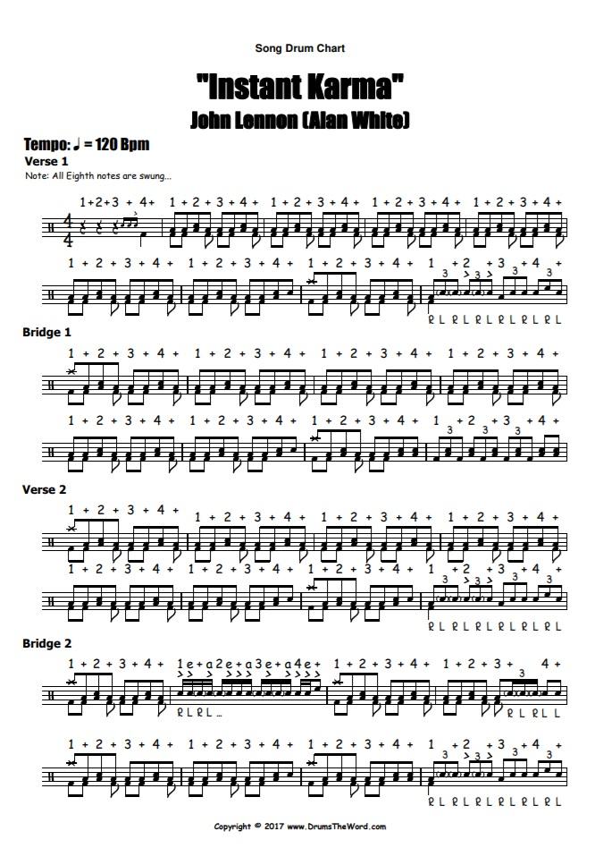 """""""Instant Karma"""" - (John Lennon) Full Song Video Drum Lesson Notation Chart Transcription Sheet Music Drum Lesson"""
