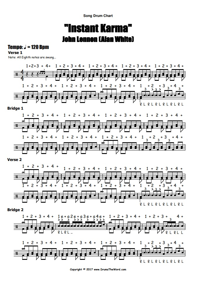 """Instant Karma"" - (John Lennon) Full Song Video Drum Lesson Notation Chart Transcription Sheet Music Drum Lesson"