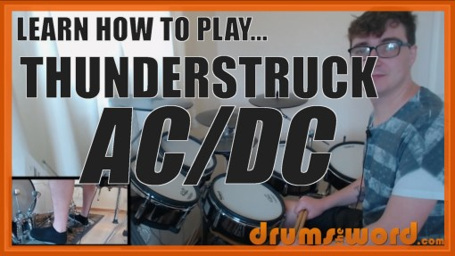 """Thunderstruck"" - (AC/DC) Full-Song Video Drum Lesson Notation Chart Transcription Sheet Music Drum Lesson"