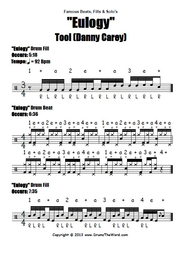 "Eulogy"" (Tool) BEATS & FILLS – Free Drum Lesson & PDF Chart"