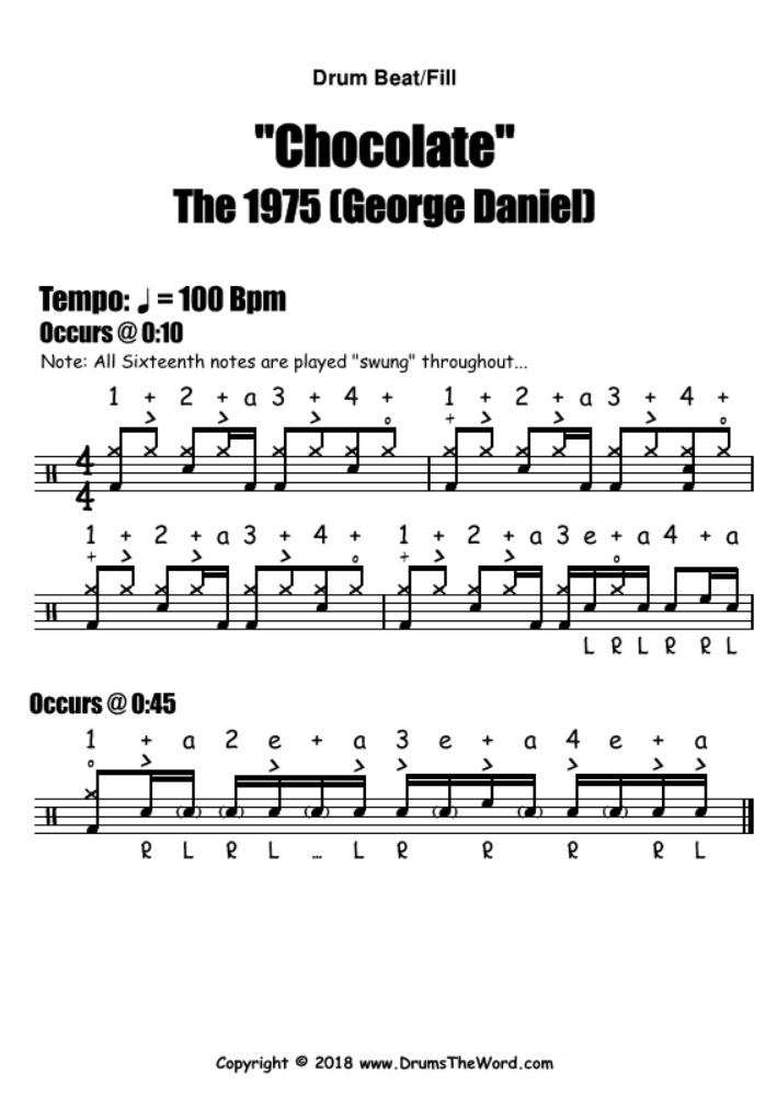 "Chocolate"" (The 1975) DRUM BEAT & FILL – Free Drum Lesson & PDF"