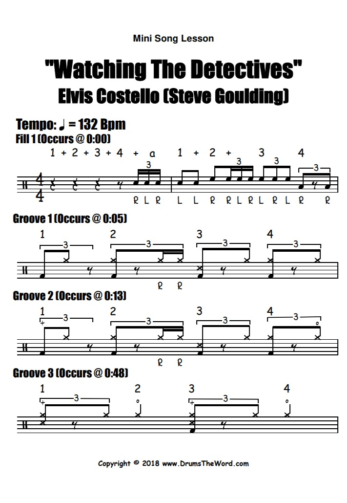 """Watching The Detectives"" - (Elvis Costello) Full Song Video Drum Lesson Notation Chart Transcription Sheet Music Drum Lesson"