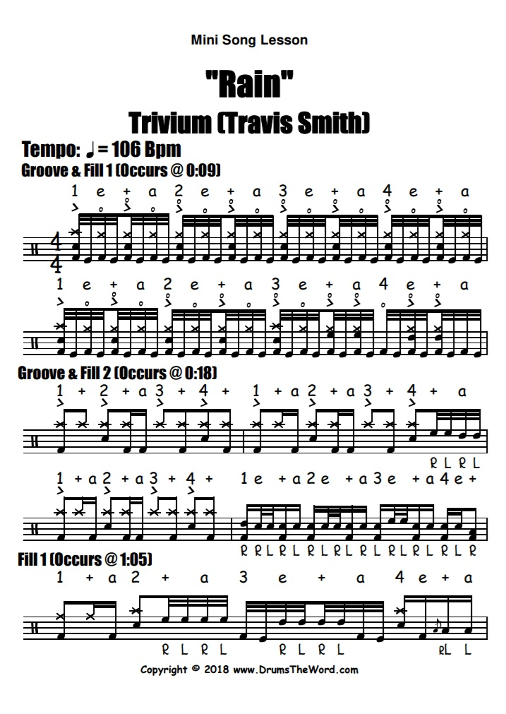 """Rain"" - (Trivium) Full Song Video Drum Lesson Notation Chart Transcription Sheet Music Drum Lesson"