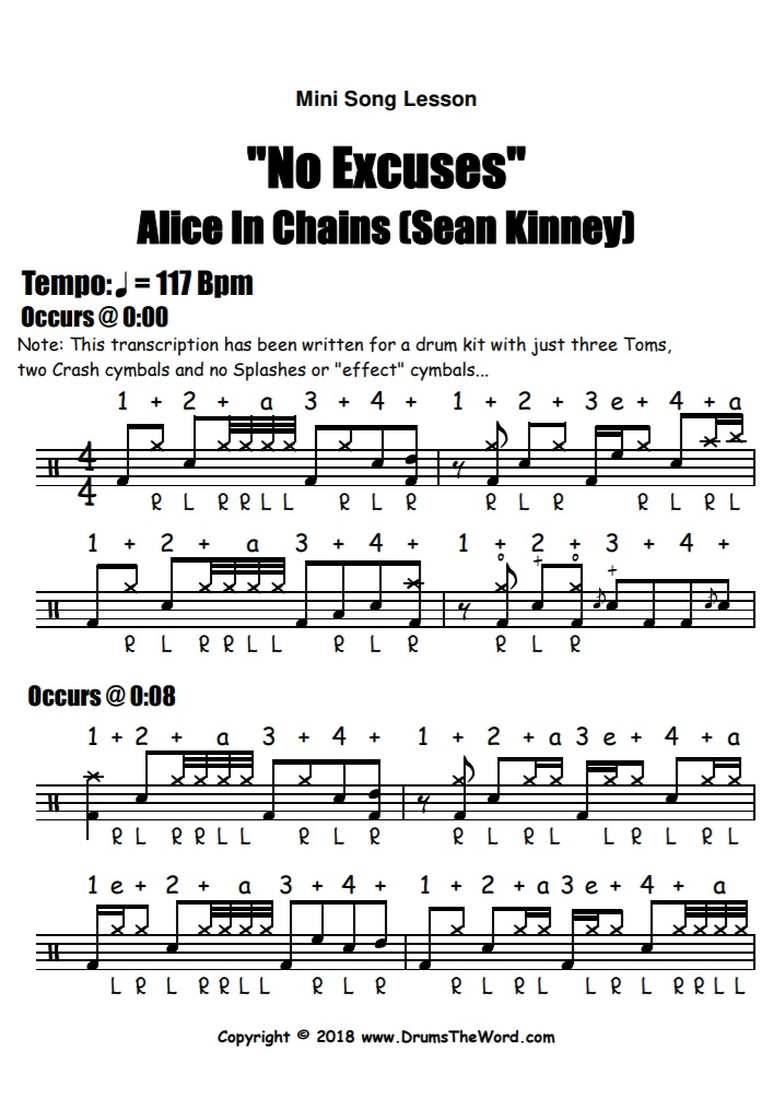 """No Excuses"" - (Alice In Chains) Full Song Video Drum Lesson Notation Chart Transcription Sheet Music Drum Lesson"