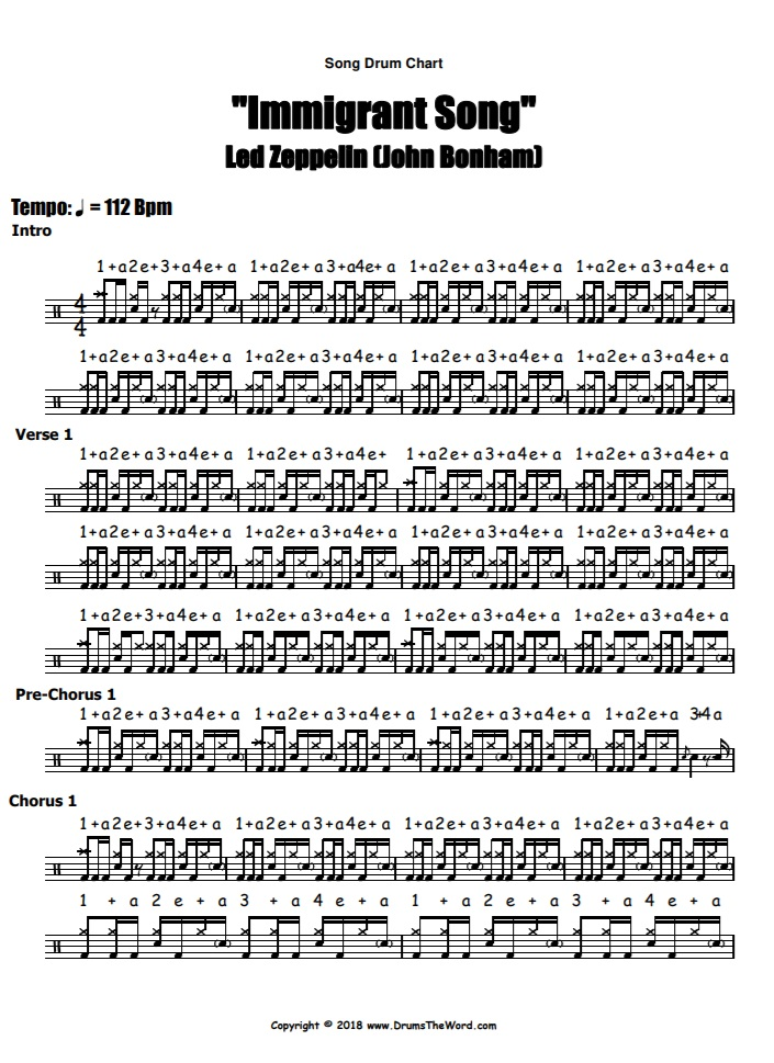 """Immigrant Song"" - (Led Zeppelin) Full Song Video Drum Lesson Notation Chart Transcription Sheet Music Drum Lesson"