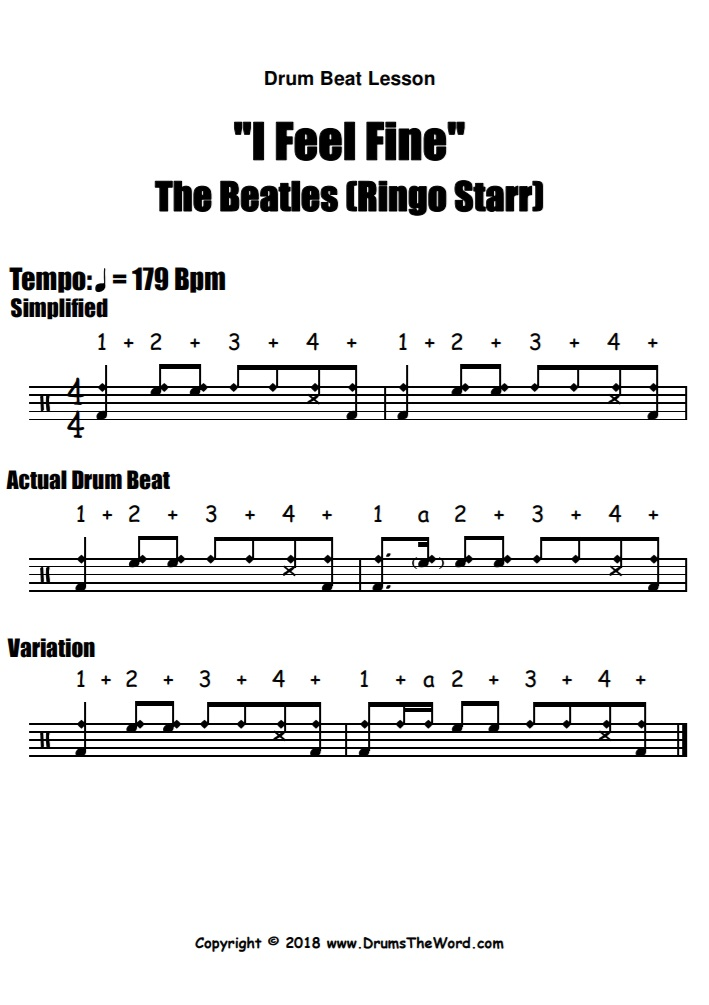 """I Feel Fine"" - (The Beatles) Drum Beat Groove Song Video Drum Lesson Notation Chart Transcription Sheet Music Drum Lesson"