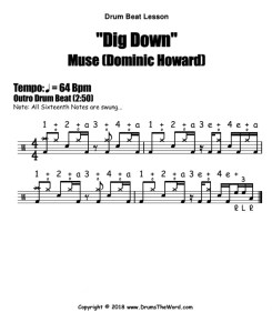 """Dig Down"" - (Muse) Drum Beat Video Drum Lesson Notation Chart Transcription Sheet Music Drum Lesson"