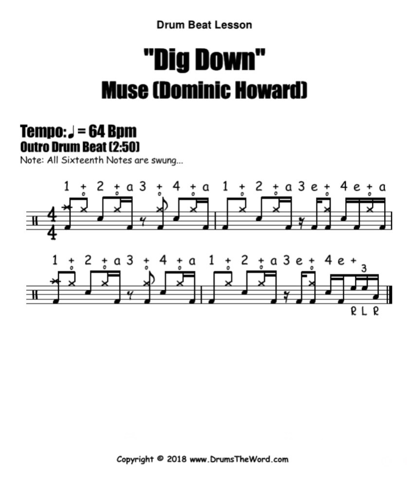 "Muse ""Dig Down"" - Free PDF drum notation lesson chart transcription (Drum Beat Drum Lesson)"