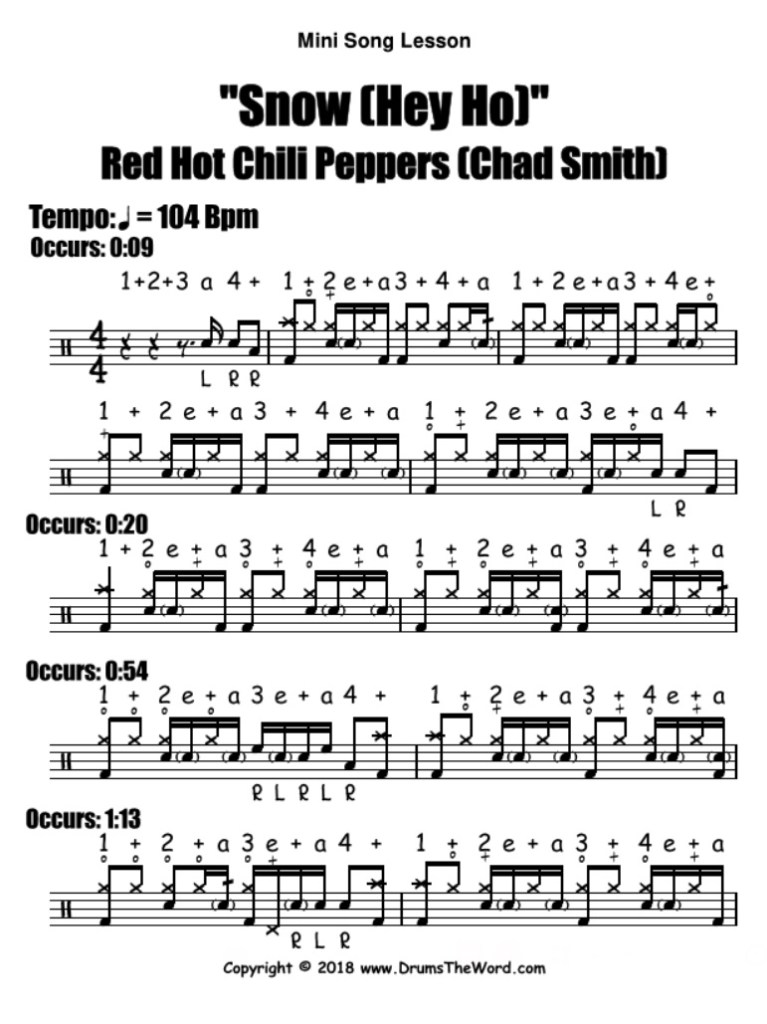 """Snow (Hey Ho) - (RHCP) Drum Beat Notation Chart Transcription Lesson"