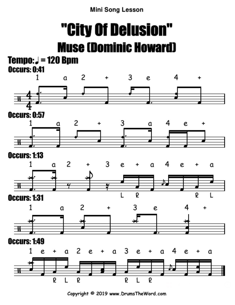 """City Of Delusion"" - (Muse) Drum Song Video Drum Lesson Notation Chart Transcription Sheet Music Drum Lesson"