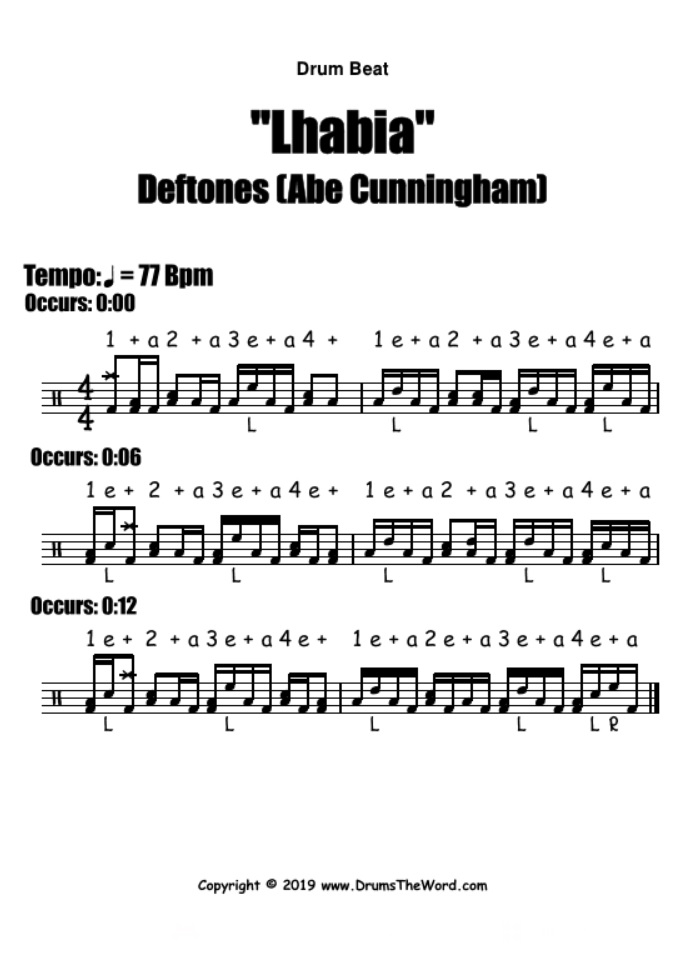 """Lhabia"" - (Deftones) Drum Beat Groove Video Drum Lesson Notation Chart Transcription Sheet Music Drum Lesson"