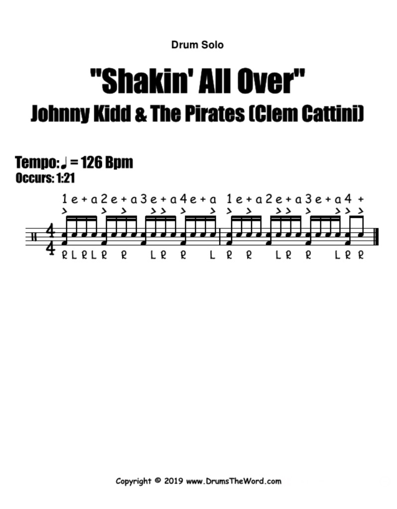 """Shakin' All Over"" - (Johnny Kidd & The Pirates) Drum Fill Solo Song Video Drum Lesson Notation Chart Transcription Sheet Music Drum Lesson"