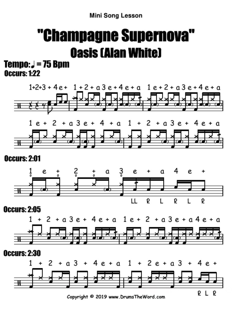 """Champagne Supernova"" - (Oasis) Mini Song Video Drum Lesson Notation Chart Transcription Sheet Music Drum Lesson"