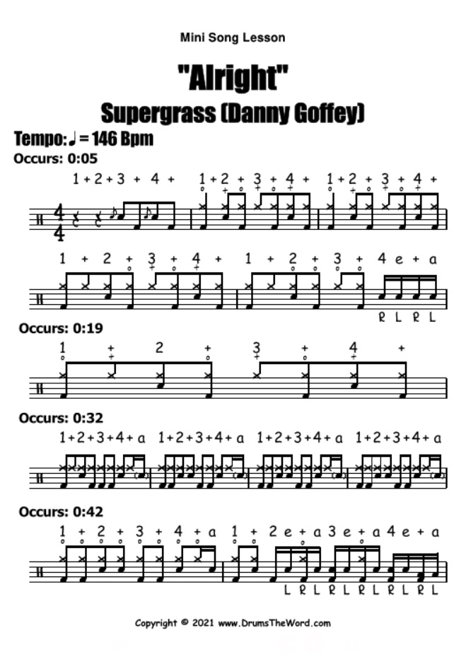 """Alright"" - (Supergrass) Mini Song Lesson Video Drum Lesson Notation Chart Transcription Sheet Music Drum Lesson"