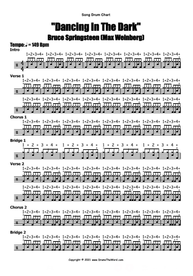 """""""Dancing In The Dark"""" - (Bruce Springsteen) Full Song Lesson Video Drum Lesson Notation Chart Transcription Sheet Music Drum Lesson"""