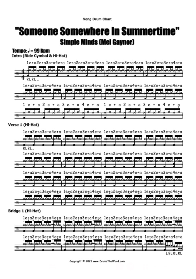 """""""Someone Somewhere In Summertime"""" - (Simple Minds) Full Song Lesson Video Drum Lesson Notation Chart Transcription Sheet Music Drum Lesson"""