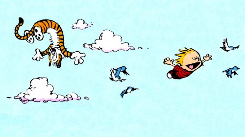 calvin and hobbes flying 500x281 calvin and hobbes   flying