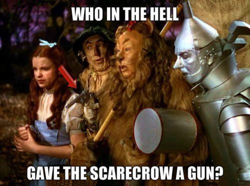 who in the hell gave the scarecrow a gun 500x372 who in the hell gave the scarecrow a gun