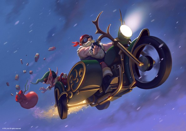 Santa Speeding off on his new bike
