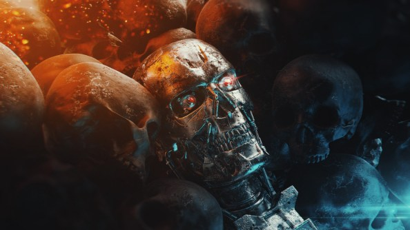 Terminator in a lake of skulls