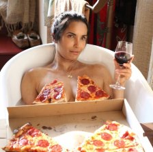 Padma Lakshmi   Nude bath with pizza photoshoot