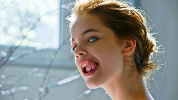 Barbara Palvin licking her snaggle tooth 1024x576 Barbara Palvin licking her snaggle tooth