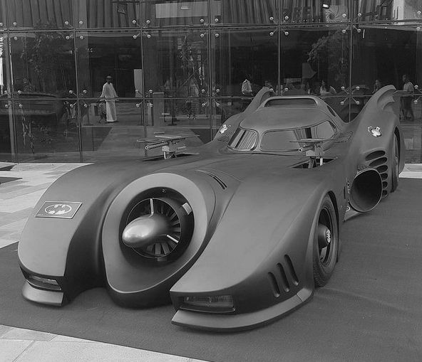 Batmobile with its massive weapons deployed Batmobile with its massive weapons deployed