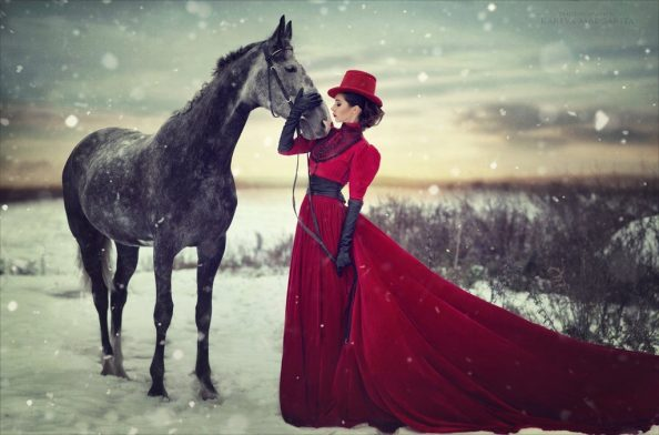 Red Dressed Woman with Horse 1024x676 Red Dressed Woman with Horse