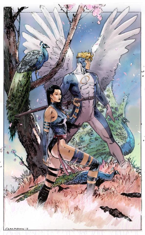 Psylocke and Angel by Clay Mann 633x1024 Psylocke and Angel by Clay Mann