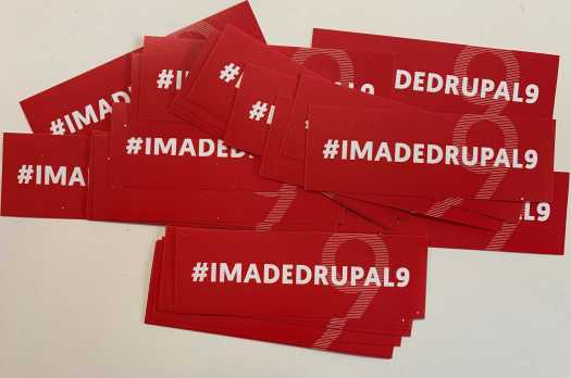 stickers promoting Drupal 9