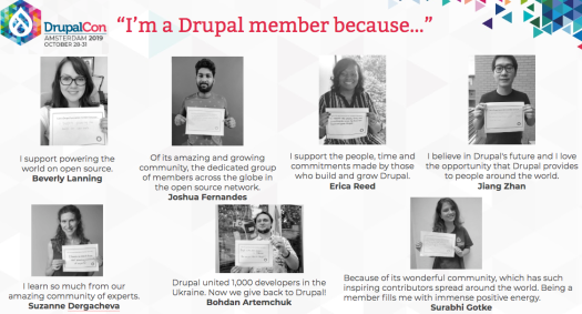 multiple drupal association members with photos and quotes