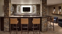 Basement Bar Designs with Stone