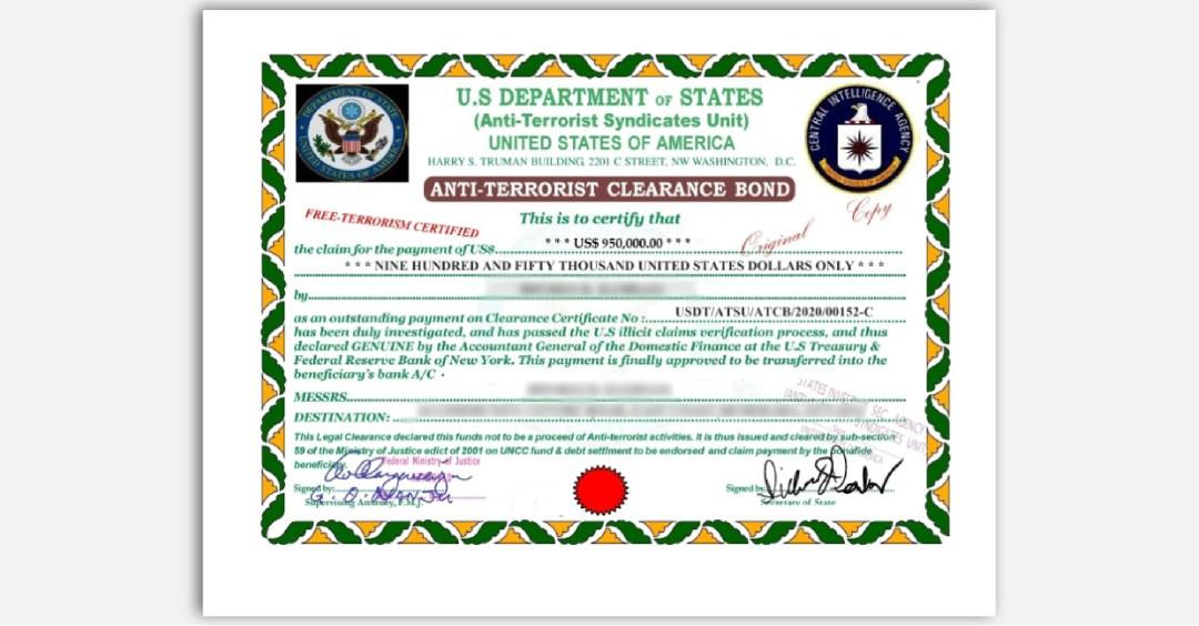 FTC impersonator scam fake State Dept. certificate