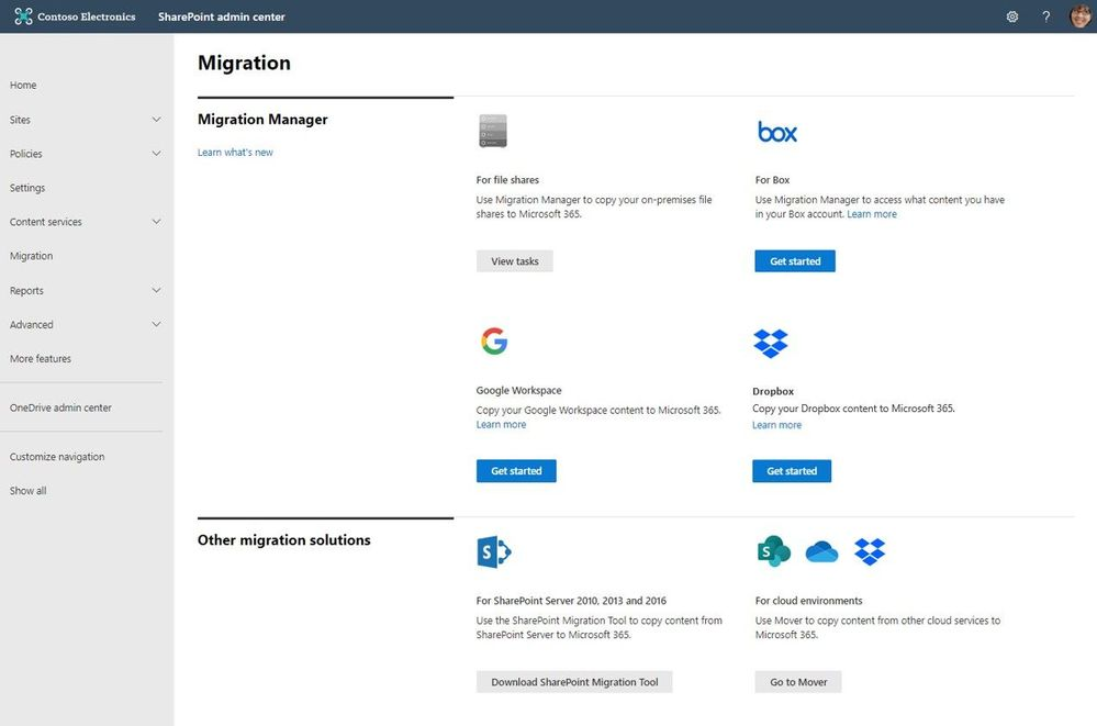 Connect your Box, Dropbox, or Google Workspace account to Microsoft 365 to move files and folder into OneDrive, SharePoint, and Microsoft Teams.