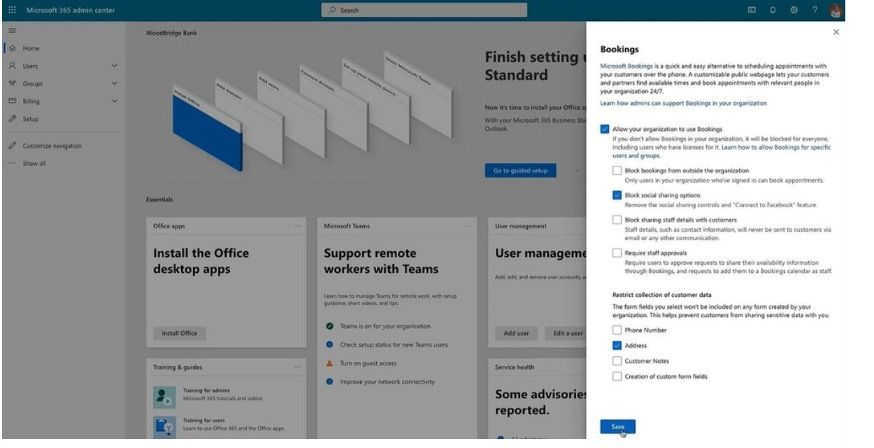 Image showing the new tenant administrator controls