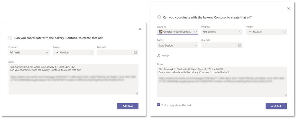 Task editing options for adding your task to the To Do Tasks list (left) and a Planner plan (right)