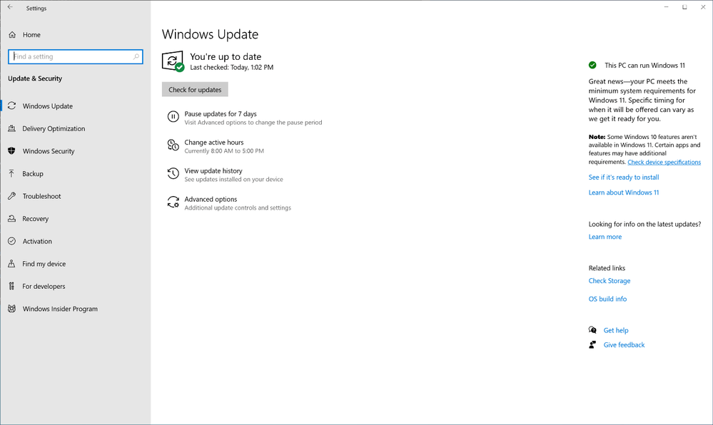 The Windows Update view in Settings, showing as up to date