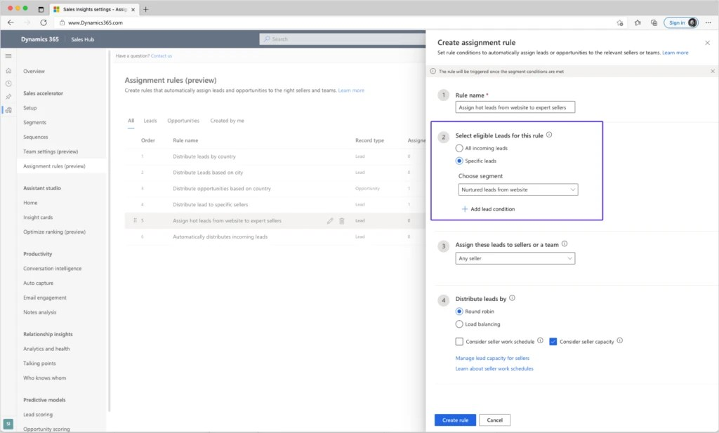 Create rule for adding leads to a segment in Dynamics 365 Sales.