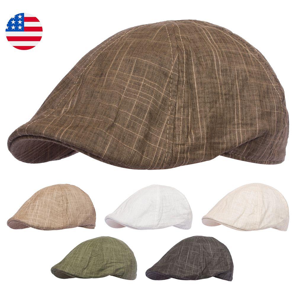 be1b69210 Ivy Hat Gatsby Flat Newsboy Duckbill Cotton Cap Men Driving Golf