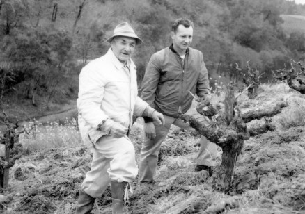 Giovanni (John Sr.) and John Pedroncelli (Jr.) in the vineyard (1)