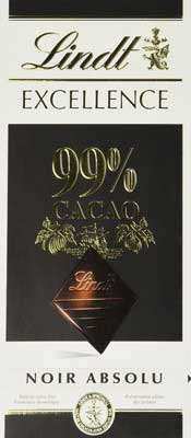Lindt Excellence 99% Cocoa Dark Noir Absolu Chocolate - 50 Grams