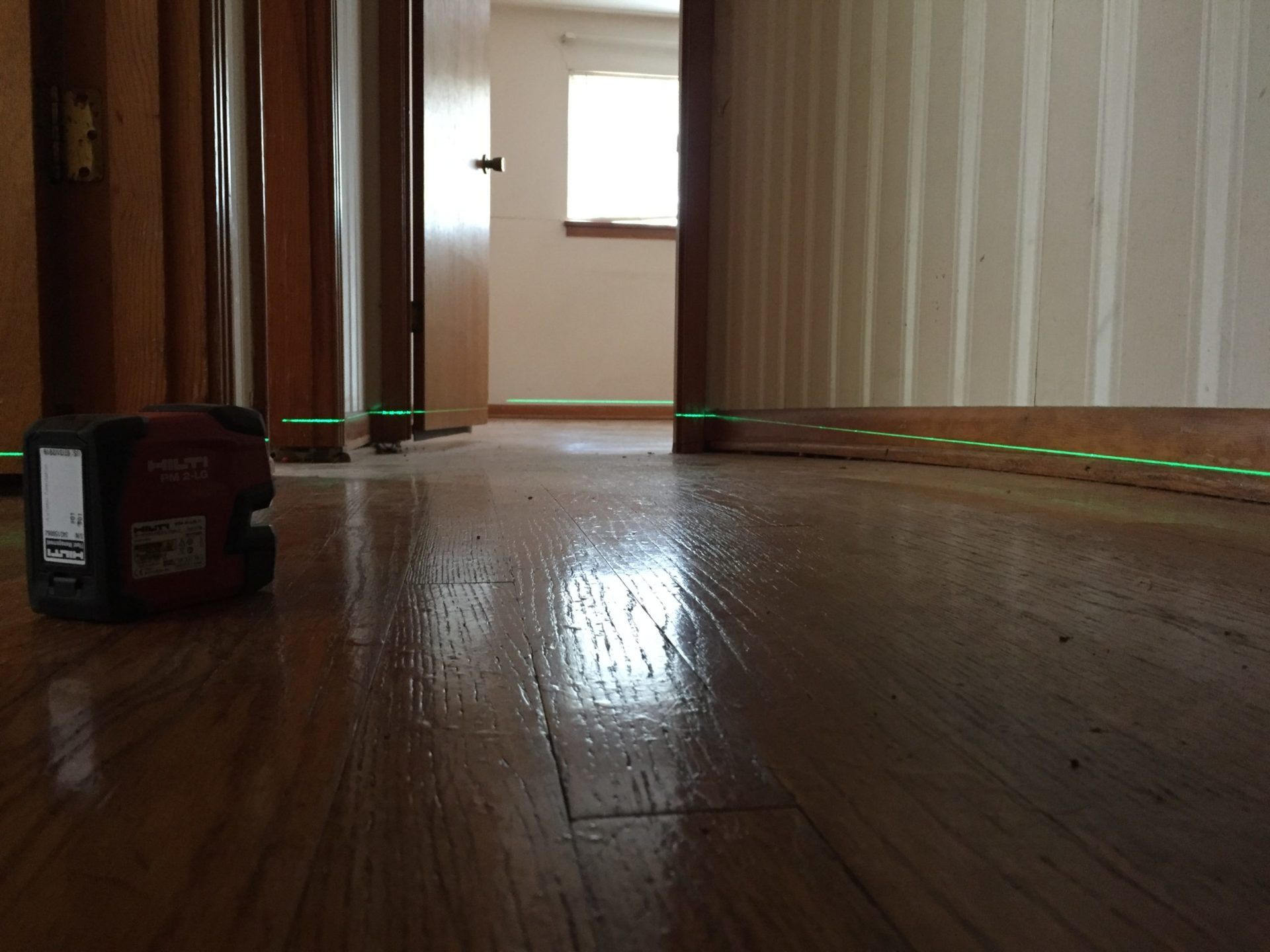 uneven floors with laser level
