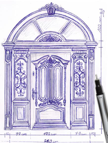 Drzwi zewnetrzne drewniane - projekt indywidualny na zamowienie