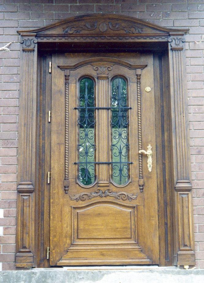 Drzwi zewnętrzne dębowe z nakładką