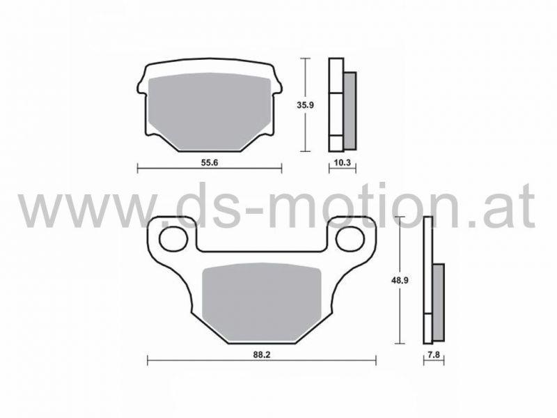 Bremsklötze 88,2 x 48,9 mm, 55,6 x 35,9 mm, Aprilia RS4 hi