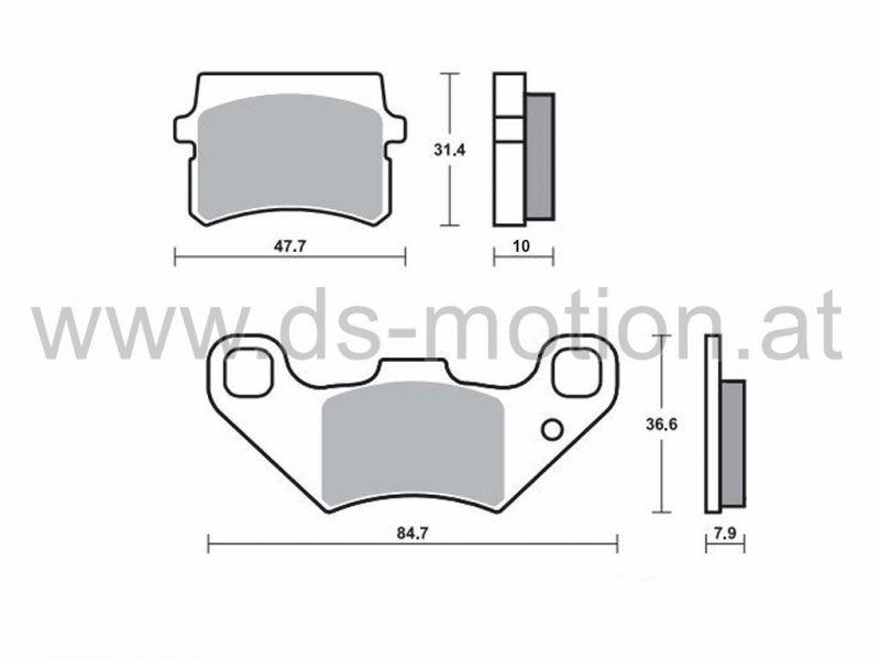Bremsklötze 84,7 x 36,6 mm, 47,7 x 31,4 mm Motorhispania