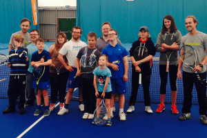 Participants in the Portsmouth tennis festival 2015 pose for a group shot
