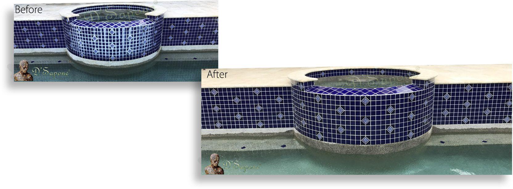 pool tile calcium build up white