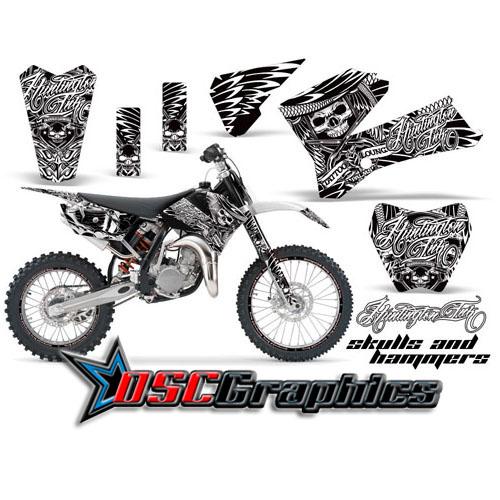 2006-2011 KTM SX 105 Dirt Bike White Skulls And Hammers