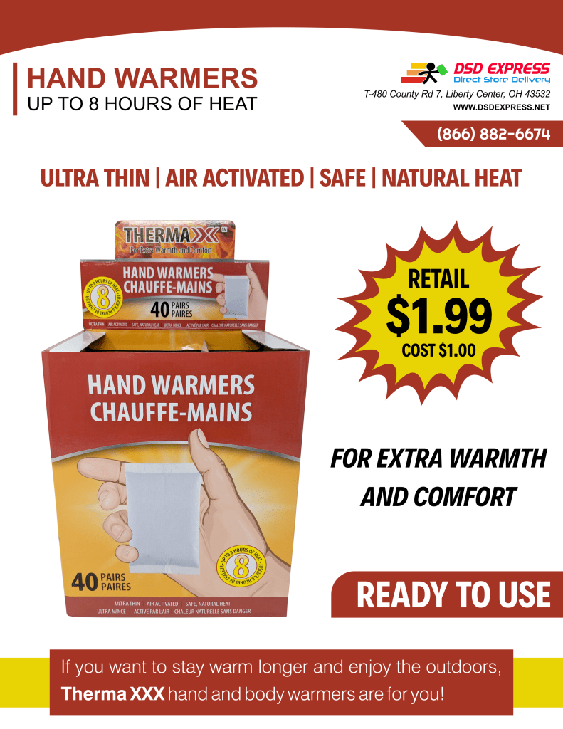 Hand Warmers New Item Flyer